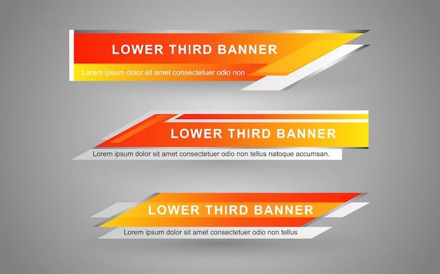 Imposta banner e terzi inferiori per il canale di notizie con colore giallo e bianco