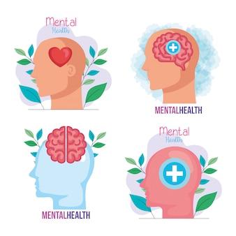 Impostare banner di salute mentale con icone