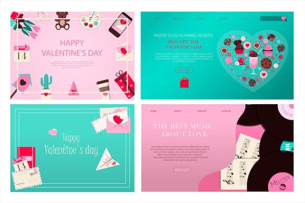 Set di banner per san valentino illustrazione vettoriale romantica per l'app