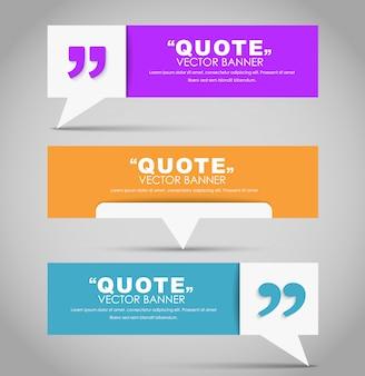 Set di banner con una bolla di citazione