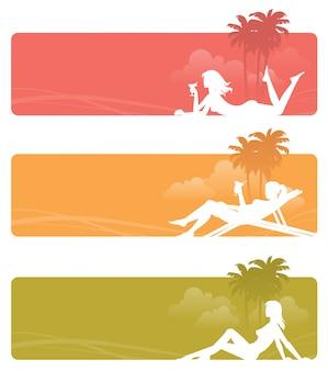 Set di banner con rilassante silhouette di donne. illustrazione.