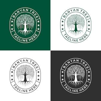 Imposta il vettore di progettazione del logo dell'albero di banyan per la tua azienda o comunità