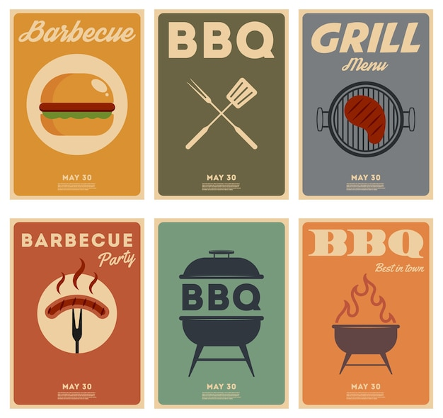 Set di poster vintage barbecue. tempo di barbecue. festa barbecue.