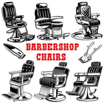 Insieme delle illustrazioni della sedia del negozio di barbiere.