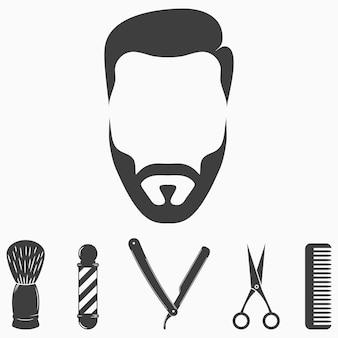 Insieme di elementi del negozio di barbiere icone di raccolta per il design del salone di parrucchiere volto di uomo