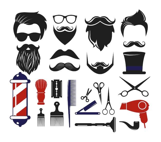 Impostare le icone del negozio di barbiere, elementi per il salone di taglio di capelli dell'uomo.