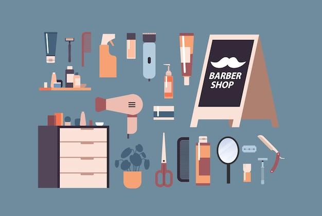 Impostare strumenti e accessori da barbiere per la rasatura e la raccolta di attrezzature per parrucchiere illustrazione vettoriale orizzontale