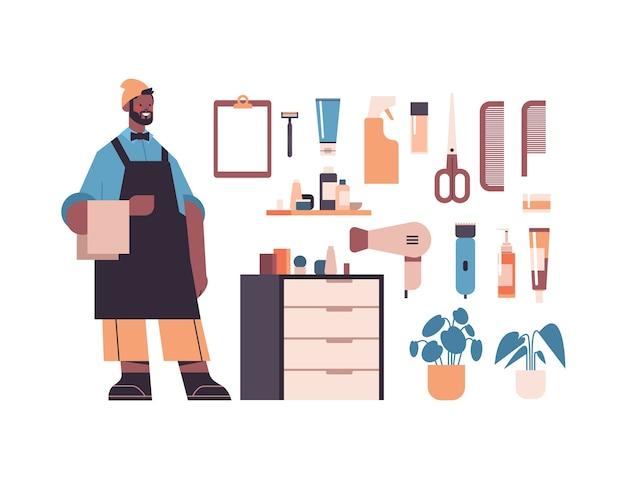 Impostare strumenti e accessori da barbiere con carattere di barbiere maschio nella raccolta uniforme di attrezzature da barba e parrucchiere isolato illustrazione vettoriale orizzontale