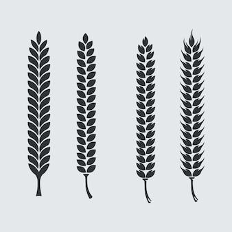 Set di punte d'orzo per il menu della barra dei pennelli artistici o l'elemento del logo del pennello pattern