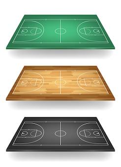 Set di campi da basket in diversi colori: verde, legno e nero. vista dall'alto.