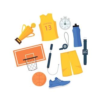 Insieme degli oggetti di pallacanestro nell'illustrazione di forma del cerchio