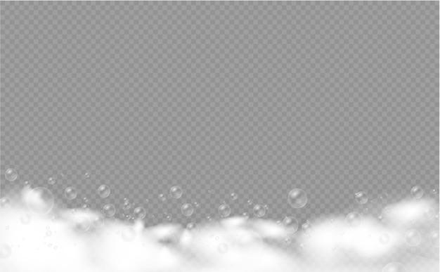 Set di schiuma da bagno con bolle di shampoo, gel di sapone o bolle di shampoo sovrapposte alla consistenza della schiuma