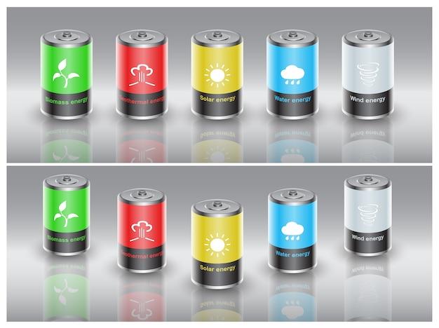 Set di batterie caricate con energia rinnovabile