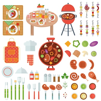 Set di cibo alla griglia per barbecue e utensili da cucina per feste barbecue. icone vettoriali piatte su sfondo bianco.
