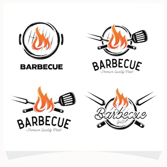 Set di bbq steak grill house logo