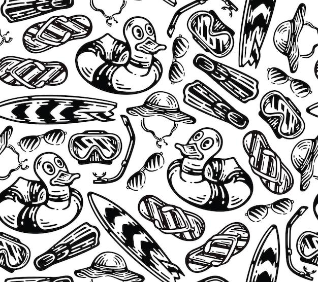 Set di elementi di attrezzatura da spiaggia in stile doodle vintage