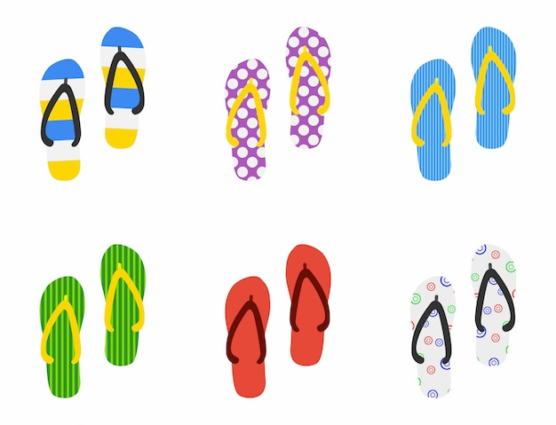 Set di icona di pantofole in spiaggia in stile piano isolato