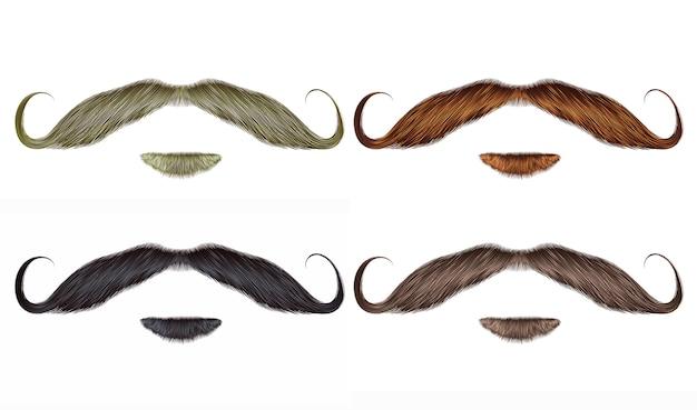 Impostare barba e baffi ricciolo di diversi colori.