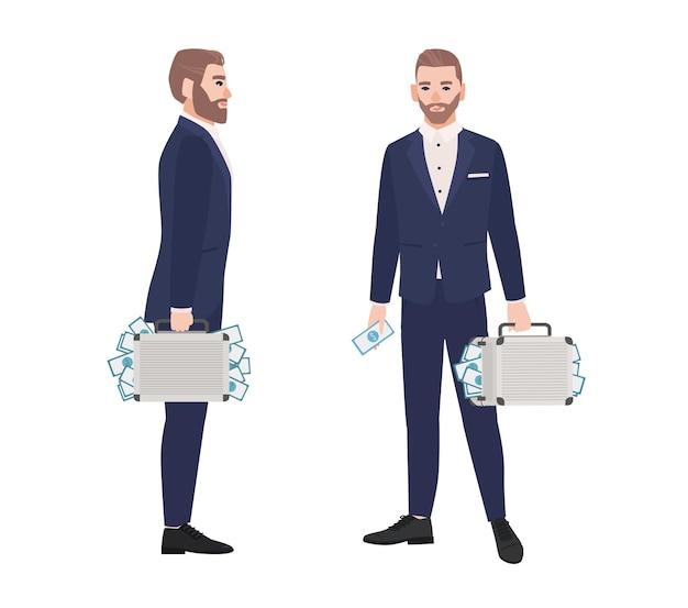 Set di uomo barbuto vestito con tuta intelligente che tiene valigetta piena di soldi. persona ricca, ricco uomo d'affari, milionario isolato su sfondo bianco. vista laterale e frontale. fumetto illustrazione vettoriale.