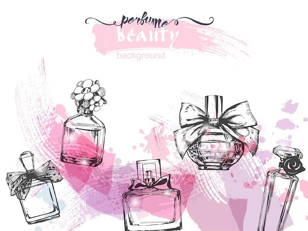 Una serie di bellissime bottiglie di profumo profumo da donna vector acquerello emplate vector