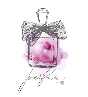 Una serie di bellissime bottiglie di profumo profumo da donna modello di acquerello vettoriale