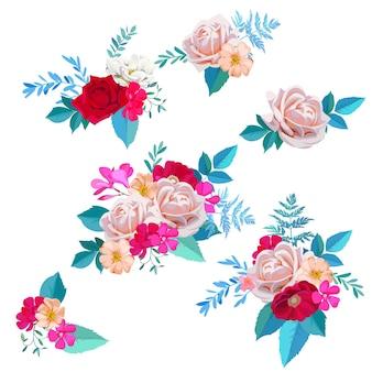 Set di bellissimi bouquet con rose e fiori di radica in stile acquerello