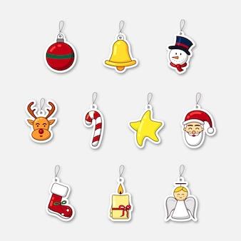 Set di bellissime decorazioni natalizie