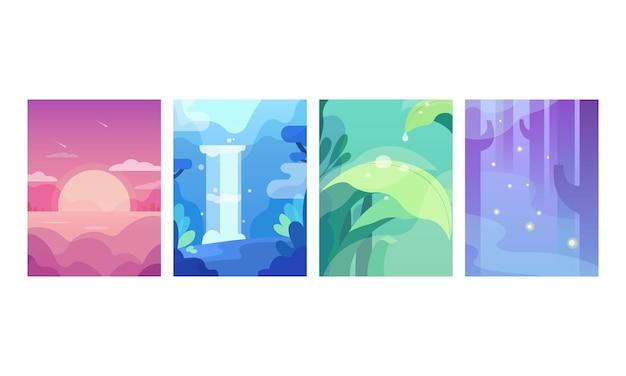 Set di bellissimi paesaggi naturali di cartone animato piatto con cascata e foresta di montagne di mare