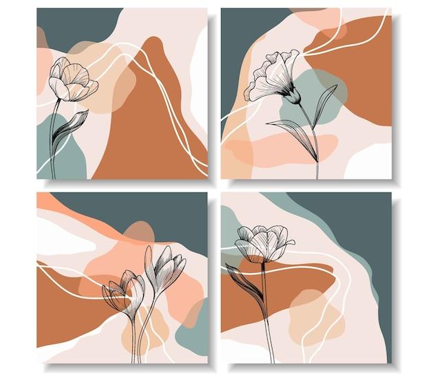 Set di bellissimo disegno floreale per post di instagram