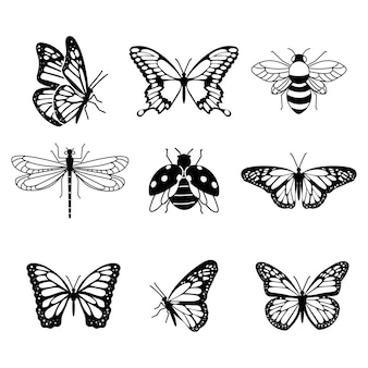 Set di bellissimi tatuaggi di insetti volanti