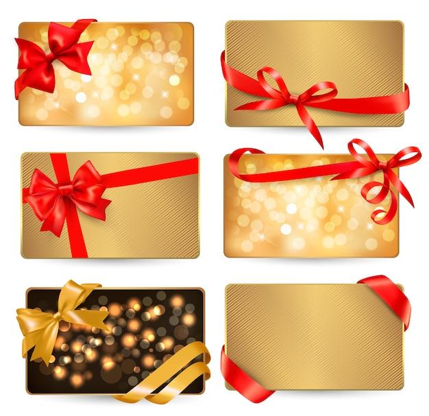 Set di bellissime carte gif con fiocchi regalo rossi con nastri