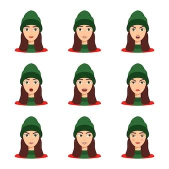 Set di emozioni di bella ragazza, illustrazione vettoriale