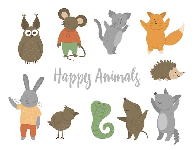 Set di bellissimi animali sani felici