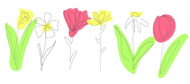 Set di bellissimi fiori primaverili isolati su sfondo bianco una linea continua contorno nero arte