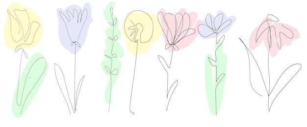 Set di bellissimi fiori primaverili su sfondo bianco una linea continua contorno nero arte colorata