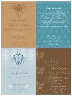 Set di bellissime carte vintage - per matrimonio, invito, congratulazioni