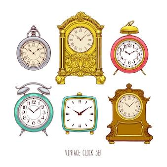 Set di bellissimi orologi vintage colorati. illustrazione disegnata a mano