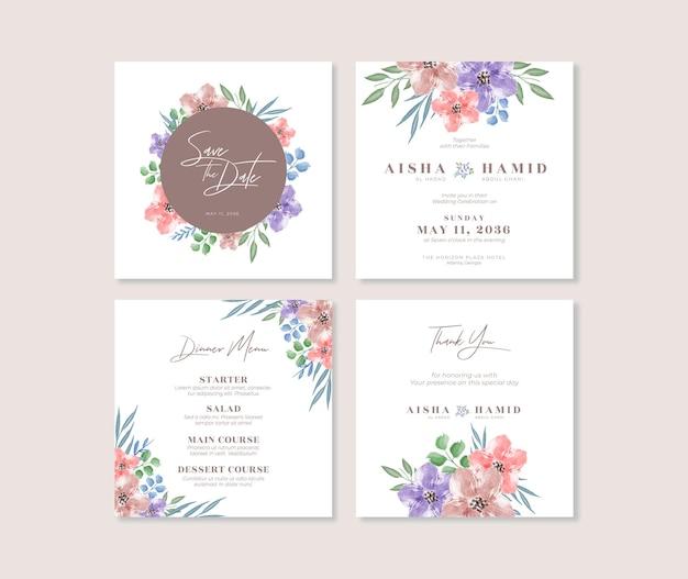 Set di design del modello di post di instagram di matrimonio floreale bellissimo acquerello