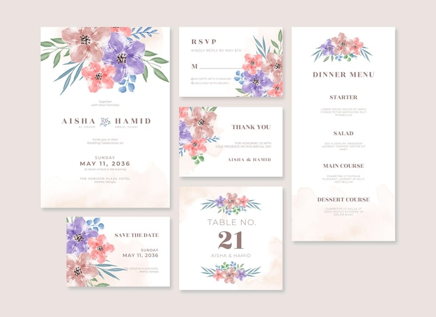 Set di design del modello di cancelleria per matrimonio floreale bellissimo acquerello
