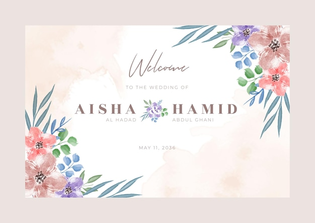 Set di design modello di segno di benvenuto matrimonio floreale bellissimo acquerello