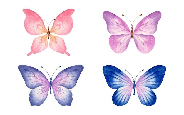 Set di bellissimi set di farfalle disegnate a mano ad acquerello isolato su bianco