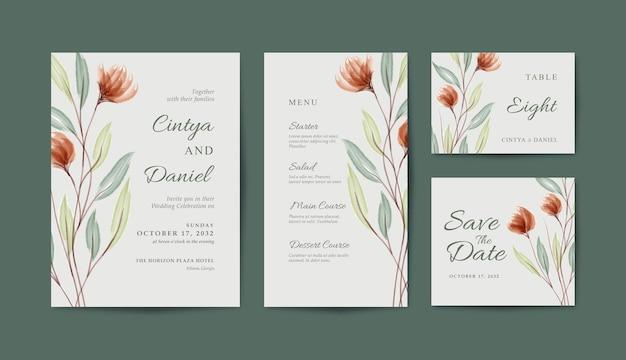 Set di bellissimo modello di carta di nozze con acquerello floreale