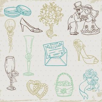 Insieme di elementi disegnati a mano di bel matrimonio