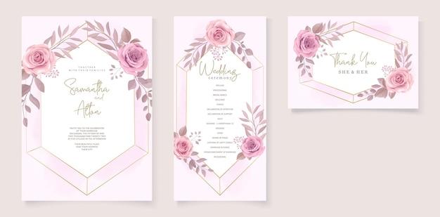 Set di bellissimo modello di invito a nozze con ornamento floreale rose disegnate a mano