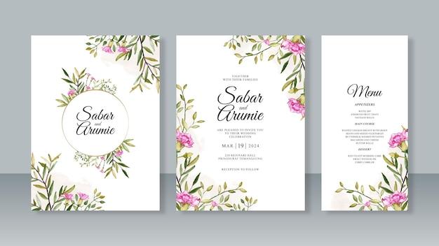 Set di bellissimi modelli di invito a nozze con foglie e fiori ad acquerello