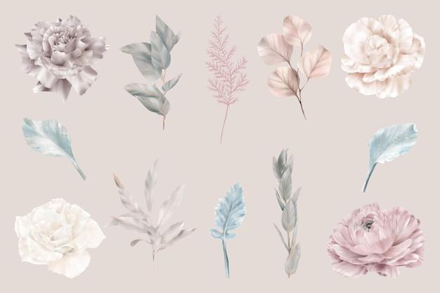 Set di bellissimi fiori invernali