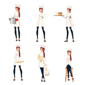 Metta il cuoco unico delle belle donne con capelli castani cuoco unico femminile del forno disegno del fumetto