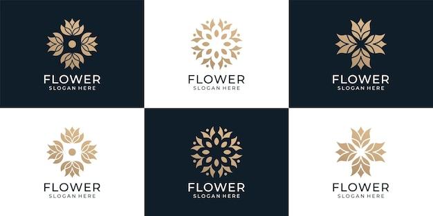 Set di salone di bellezza femminile e design del logo a forma di monogramma di linea spa line art