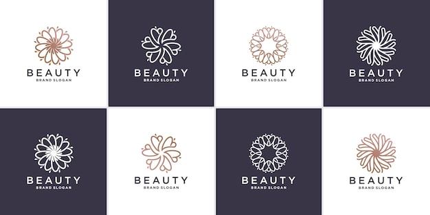 Insieme dell'estratto del logo del fiore di bellezza con il concetto di linea vettore premium