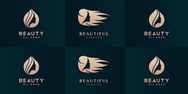 Set di modelli di progettazione del logo del salone di bellezza e parrucchiere.